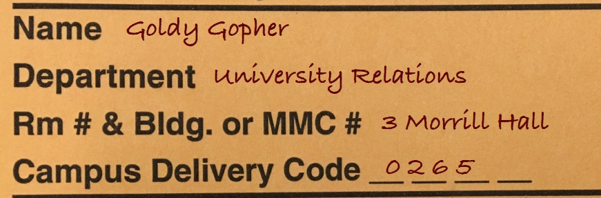Campus Delivery Address Example